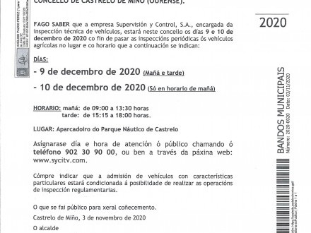 BANDO 20/2020: INSPECCIÓN TÉCNICA DE VEHÍCULOS AGRÍCOLAS