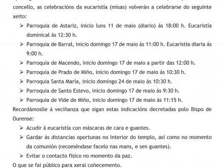 NOTA INFORMATIVA: Retómanse a celebración das misas.
