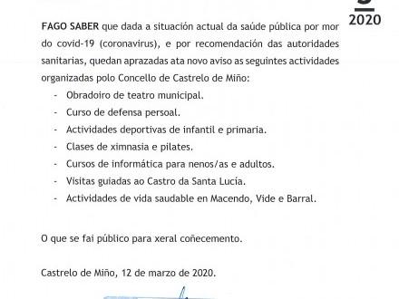 BANDO 5/2020: APRAZAMENTO ACTIVIDADES
