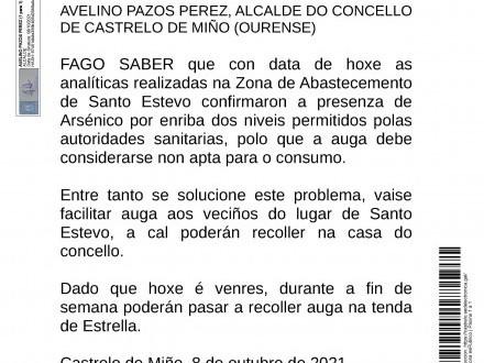 Restricciones de consumo de agua en ZA San Esteban