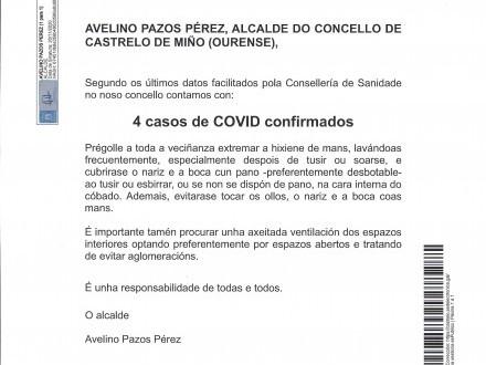 NOTA INFORMATIVA: 4 casos de COVID CONFIRMADOS