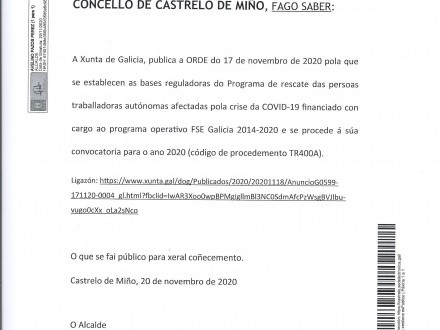 NOTA INFORMATIVA: PROGRAMA DE RESCATE DAS PERSOAS TRABALLADORAS AUTÓNOMAS