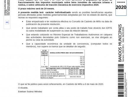 BANDO 11/2020: Ampliación prazo fraccionamento impostos municipais: IBIR, IBIU e IVTM