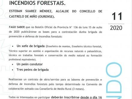 BANDO 15: CONTRATACIÓN DE 5 TRABALLADORES PARA A PREVENCIÓN E DEFENSA DE INCENDIOS FORESTAIS