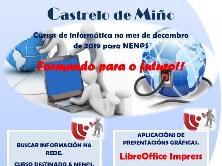 Cursos de informática na aula INFO para o mes de decembro en Castrelo de Miño.